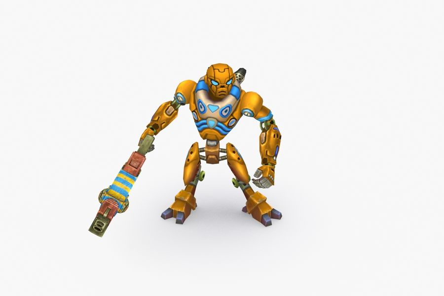 Animated Rigged Robot Type C royalty-free 3d model - Preview no. 6