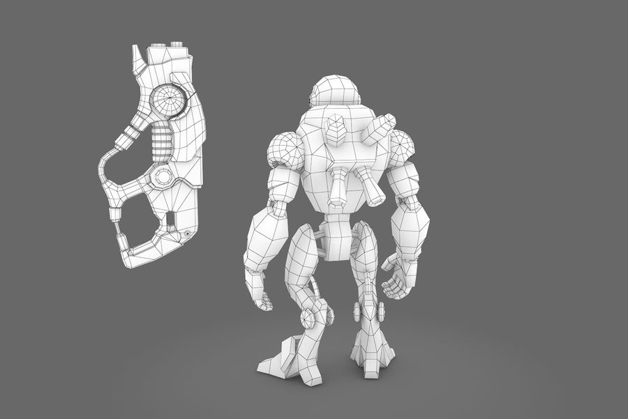Animated Rigged Robot Type C royalty-free 3d model - Preview no. 13