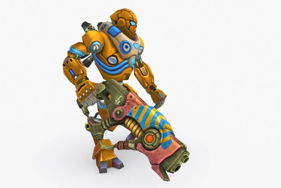 Animated Rigged Robot Type C royalty-free 3d model - Preview no. 5