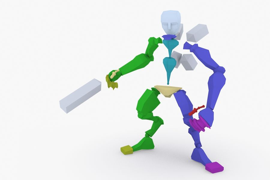 Animated Rigged Robot Type C royalty-free 3d model - Preview no. 9
