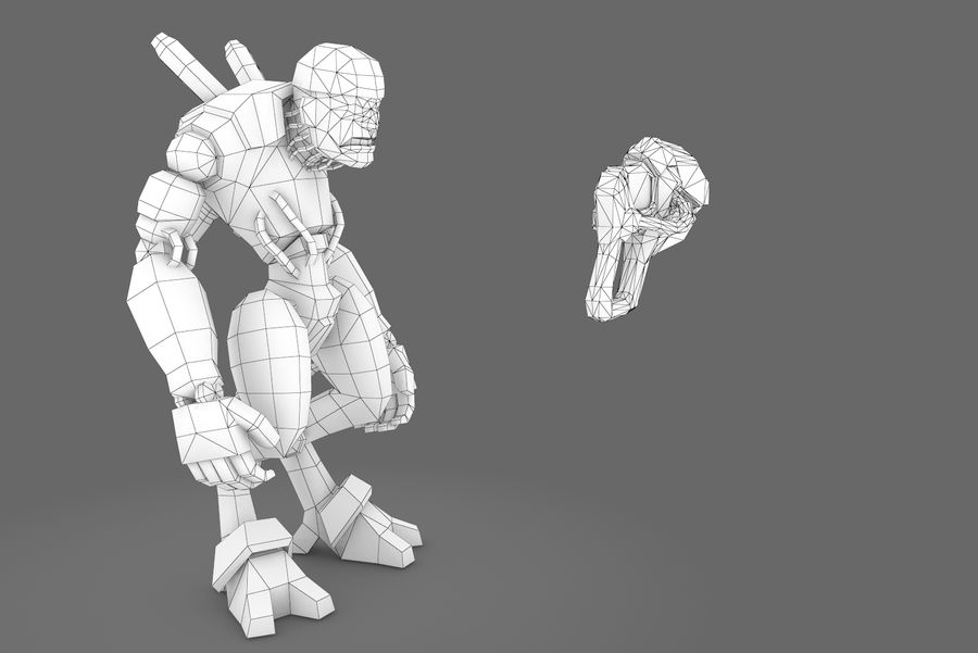 Animated Rigged Robot Type D royalty-free 3d model - Preview no. 2
