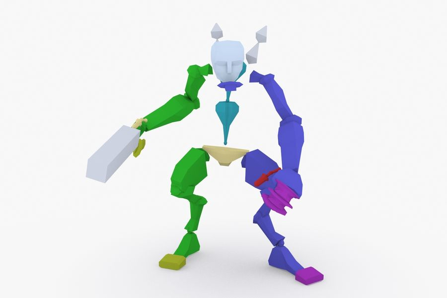 Geanimeerde opgetuigde robot Type D royalty-free 3d model - Preview no. 9