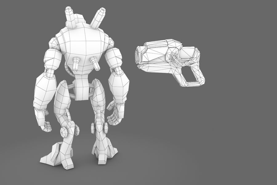 Animated Rigged Robot Type D royalty-free 3d model - Preview no. 4