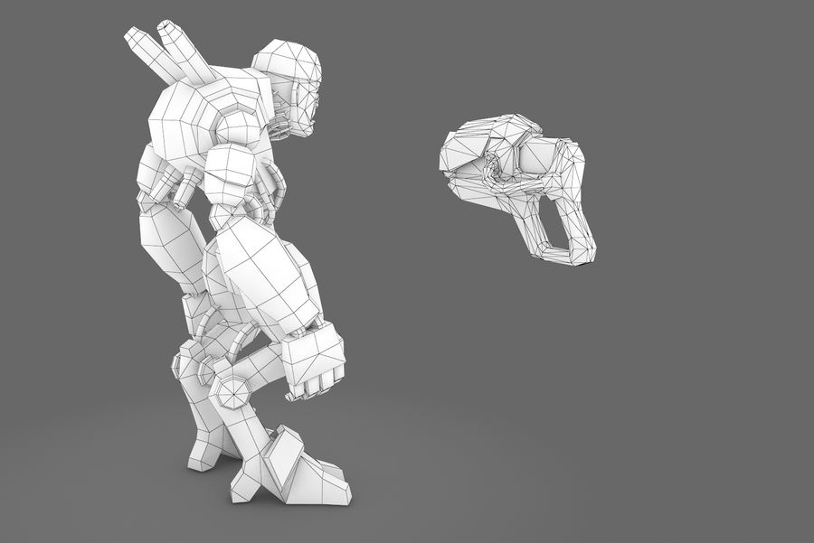 Animated Rigged Robot Type D royalty-free 3d model - Preview no. 3