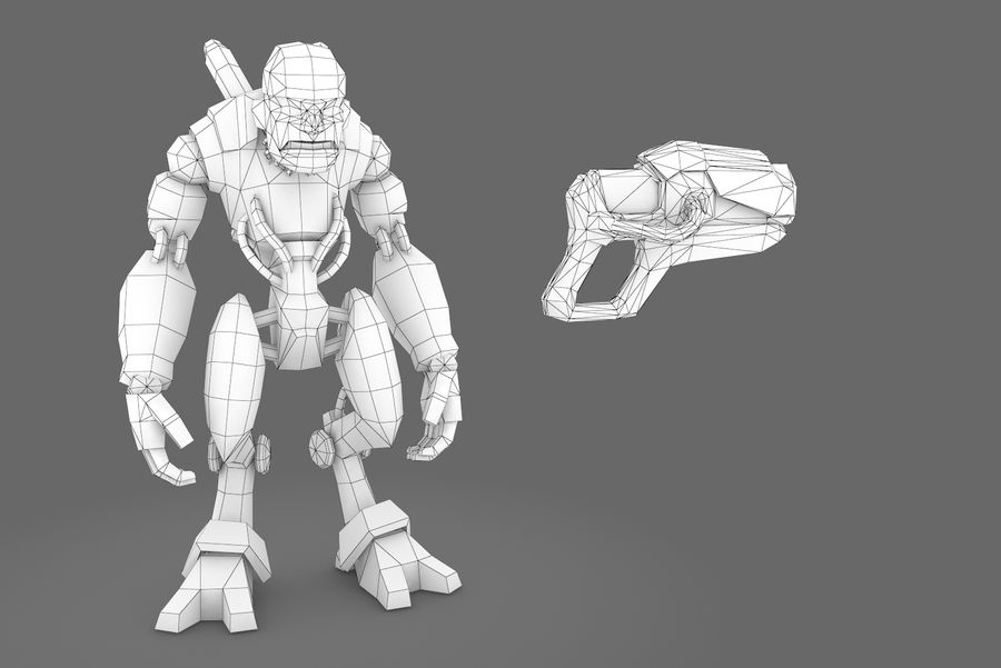 Animated Rigged Robot Type D royalty-free 3d model - Preview no. 1