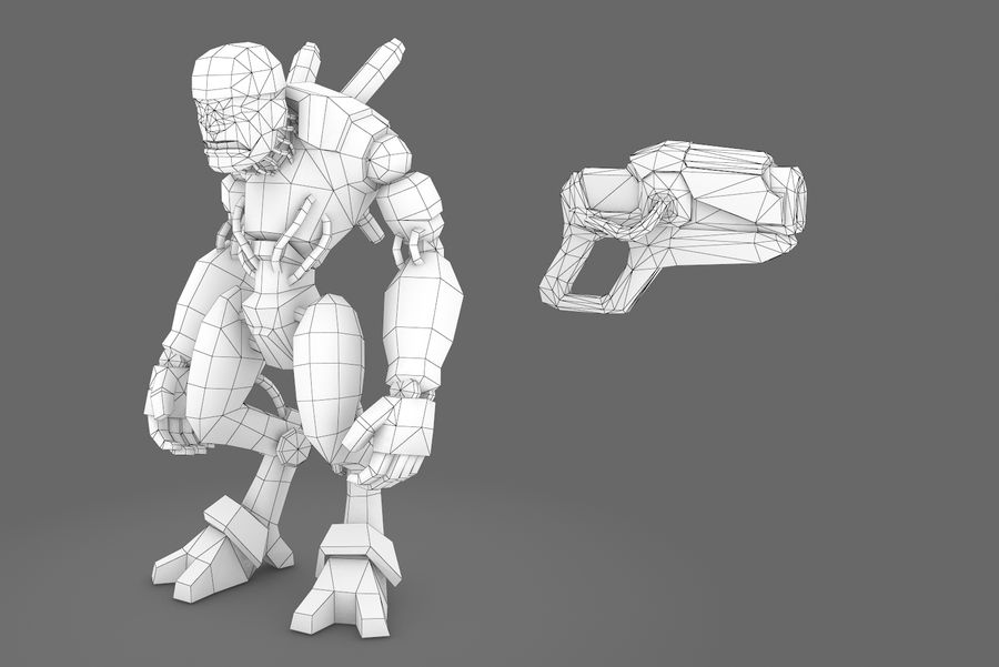 Animated Rigged Robot Type D royalty-free 3d model - Preview no. 5