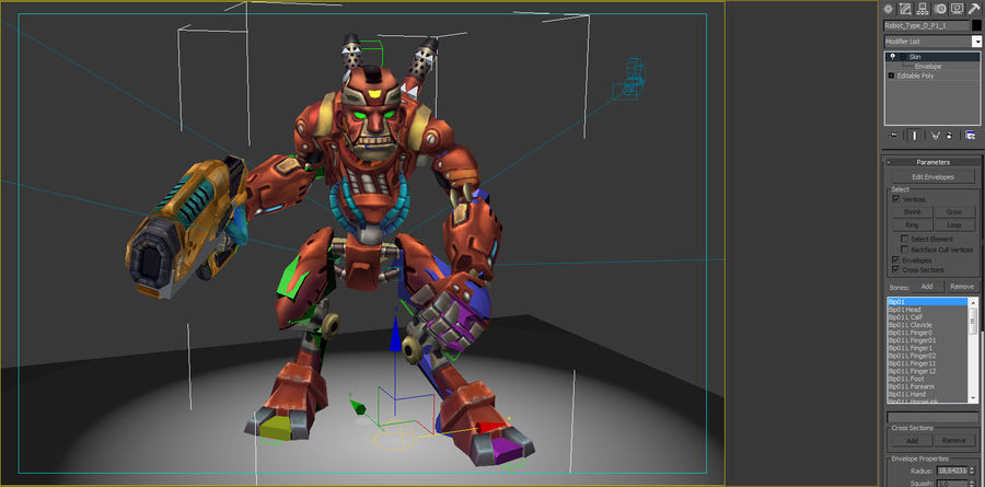 Geanimeerde opgetuigde robot Type D royalty-free 3d model - Preview no. 7