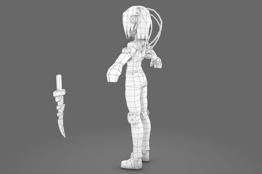 Animated Rigged Woman Character royalty-free 3d model - Preview no. 14