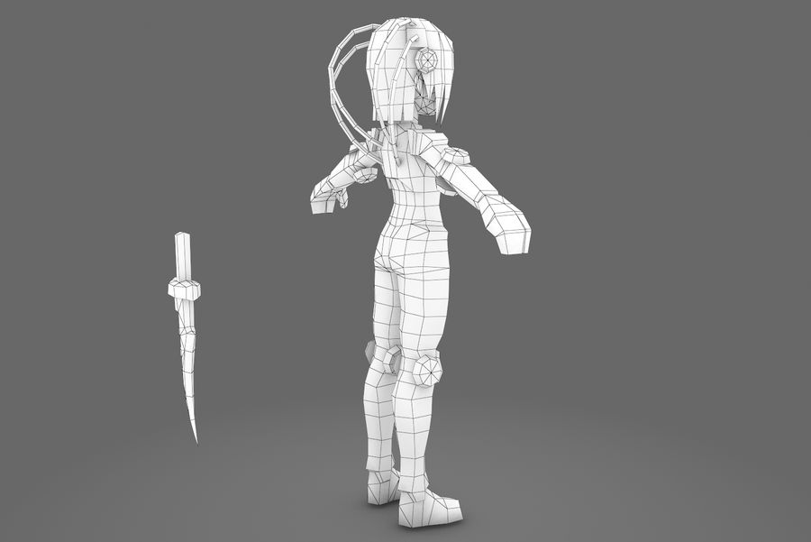 Animated Rigged Woman Character royalty-free 3d model - Preview no. 12
