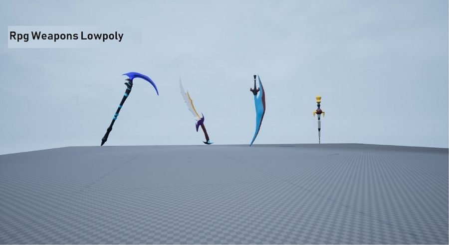Armas Rpg Juego Lowpoly royalty-free modelo 3d - Preview no. 1