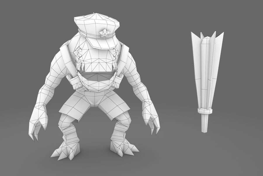 Animated Rigged Creature Type E royalty-free 3d model - Preview no. 10