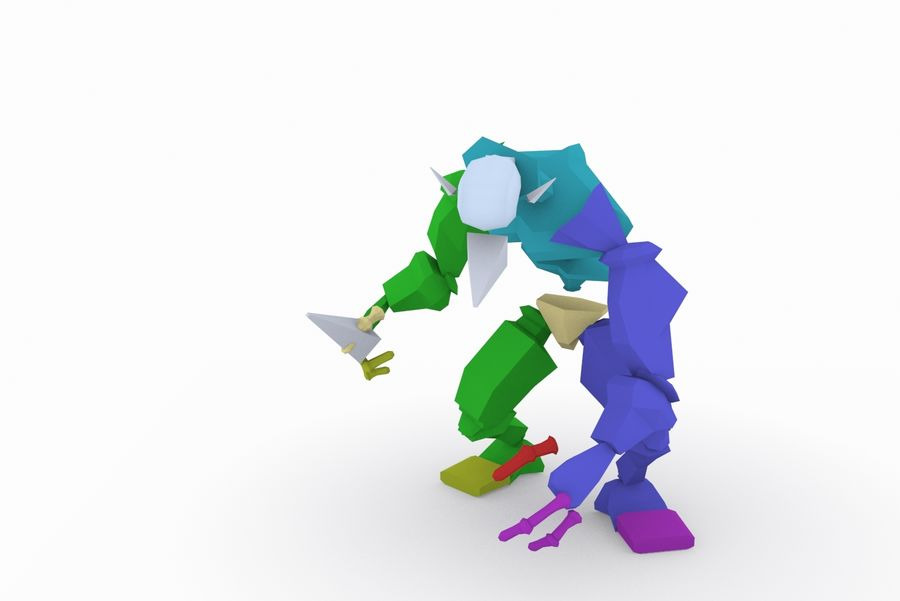 Animated Rigged Creature Type E royalty-free 3d model - Preview no. 9