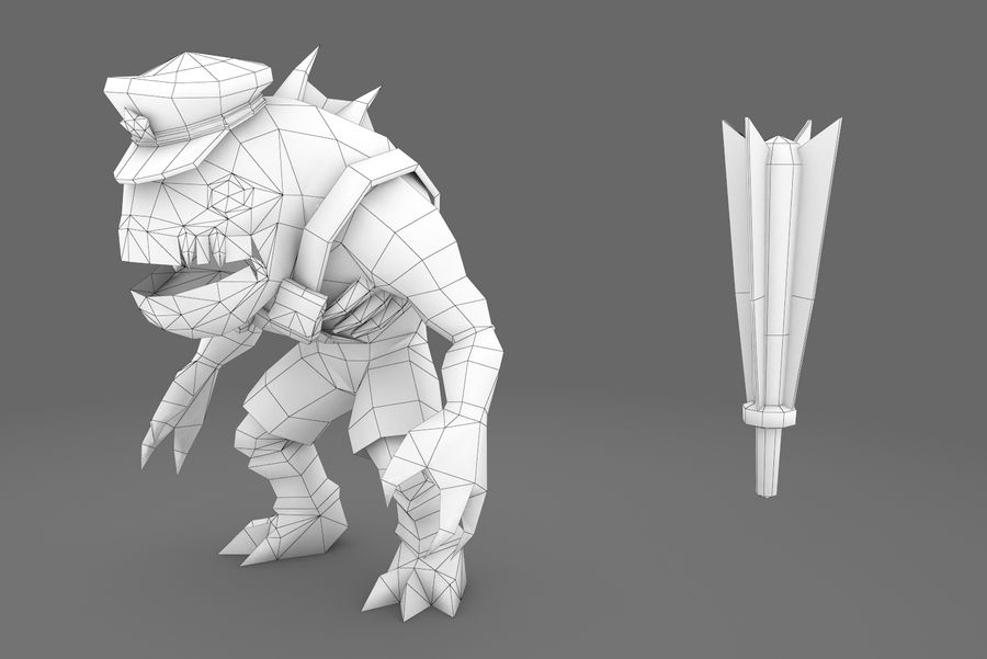 Animated Rigged Creature Type E royalty-free 3d model - Preview no. 4