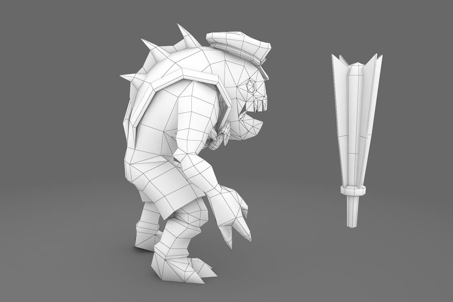 Animated Rigged Creature Type E royalty-free 3d model - Preview no. 2