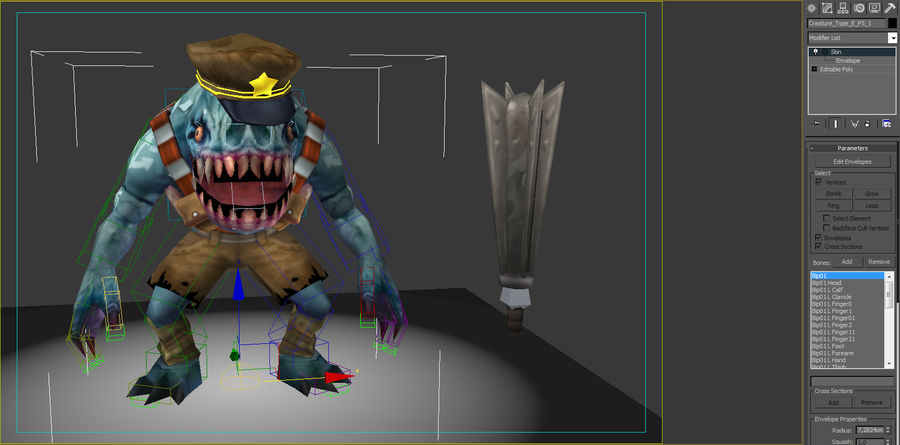 Animated Rigged Creature Type E royalty-free 3d model - Preview no. 8