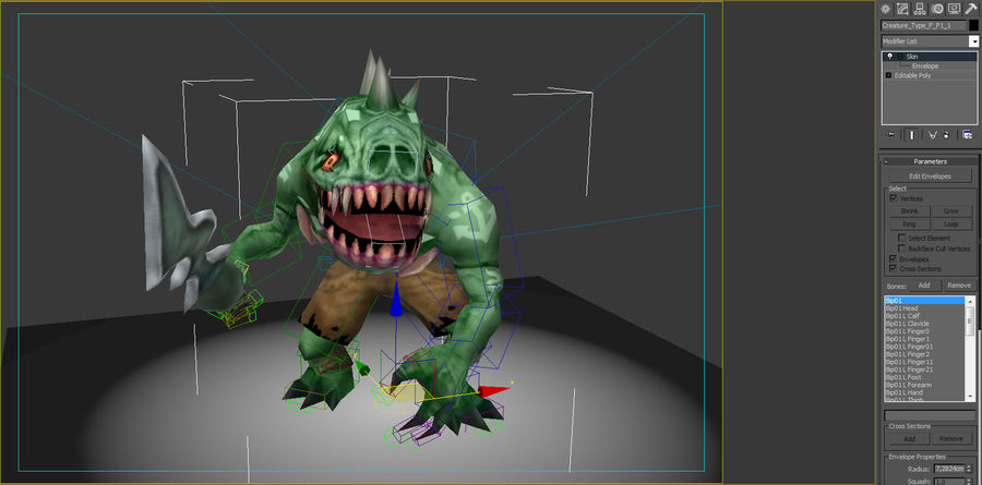 Animated Rigged Creature Type F royalty-free 3d model - Preview no. 7
