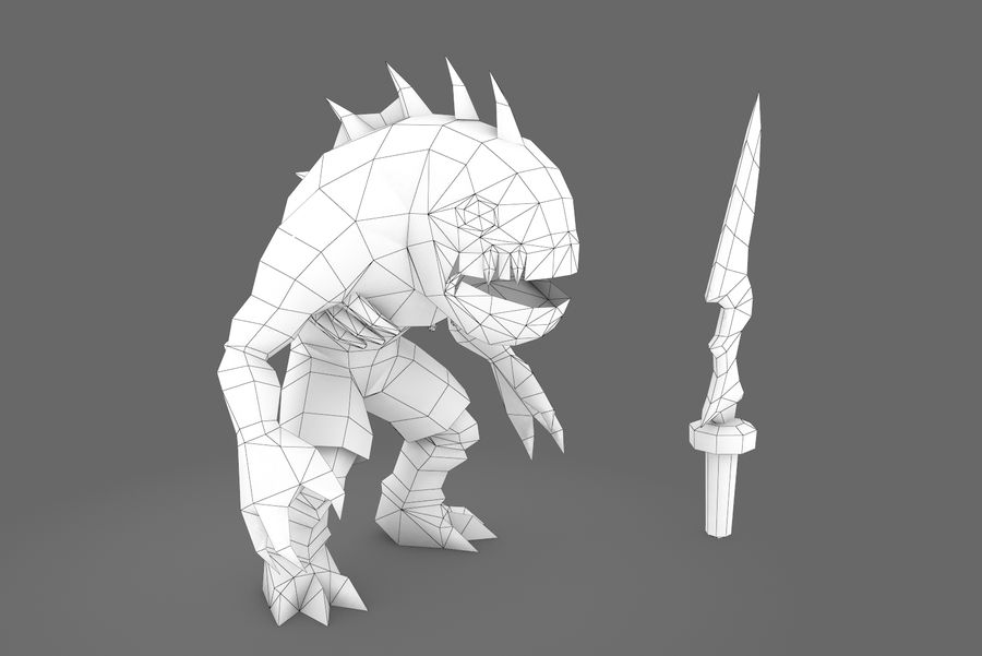 Animated Rigged Creature Type F royalty-free 3d model - Preview no. 1