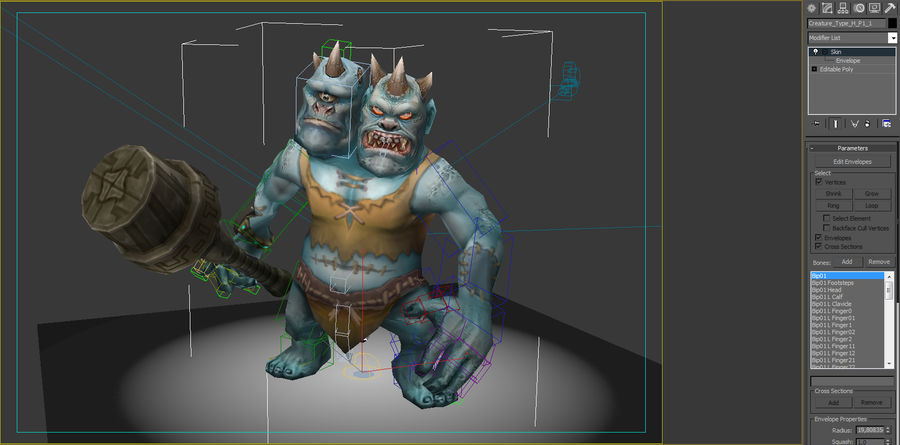 Animated Rigged Creature Type H royalty-free 3d model - Preview no. 7