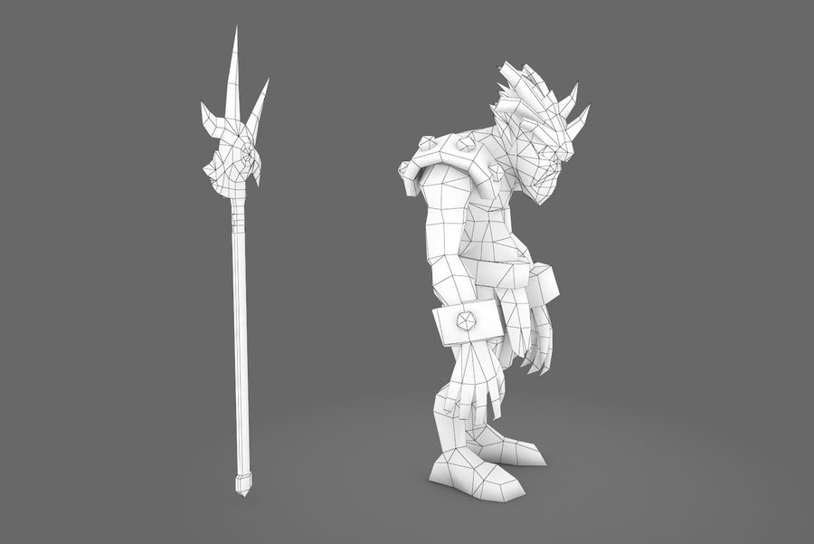 Animated Rigged Creature Type I royalty-free 3d model - Preview no. 2