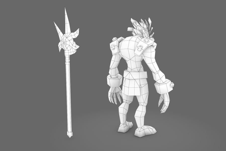 Animated Rigged Creature Type I royalty-free 3d model - Preview no. 3