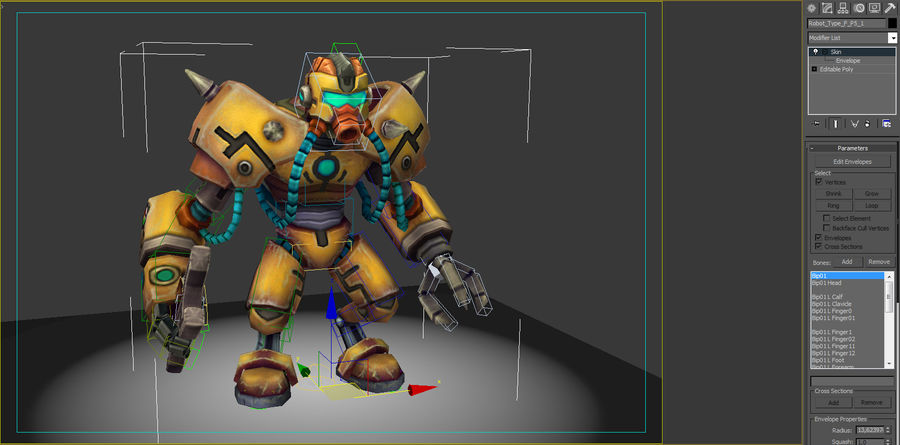 Animated Rigged Robot Type F royalty-free 3d model - Preview no. 8