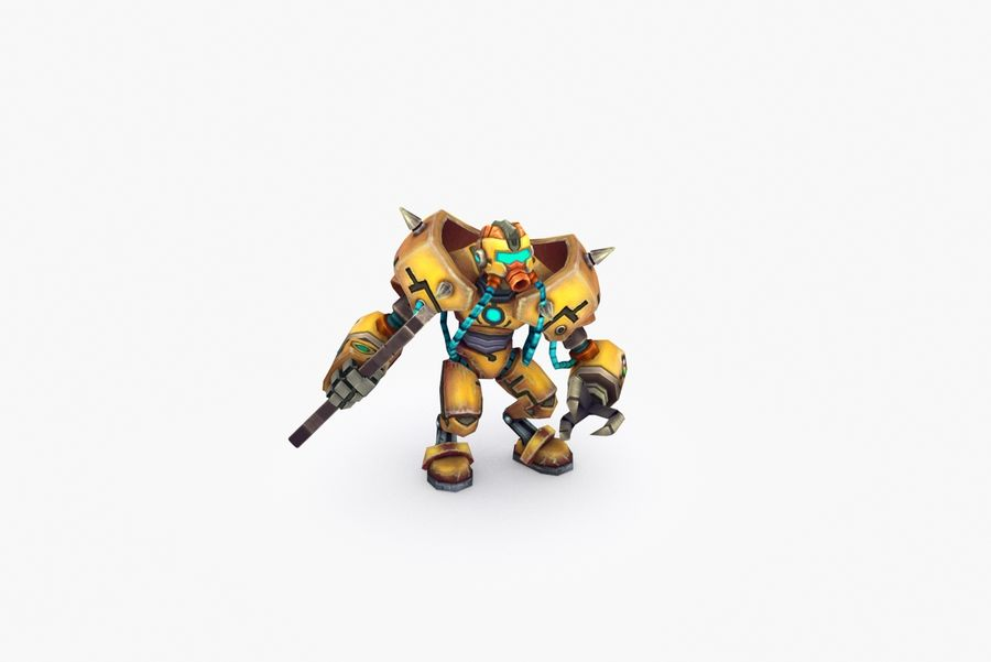 Animated Rigged Robot Type F royalty-free 3d model - Preview no. 6