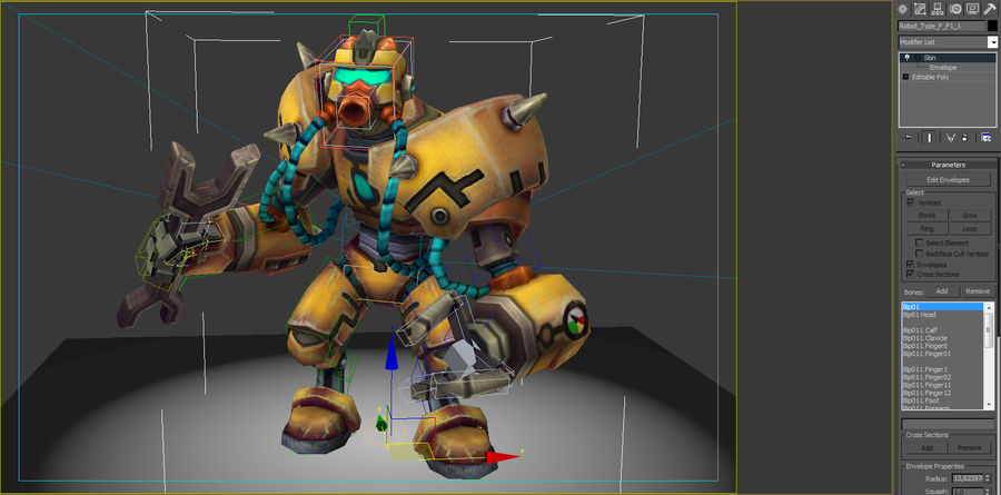 Animated Rigged Robot Type F royalty-free 3d model - Preview no. 7
