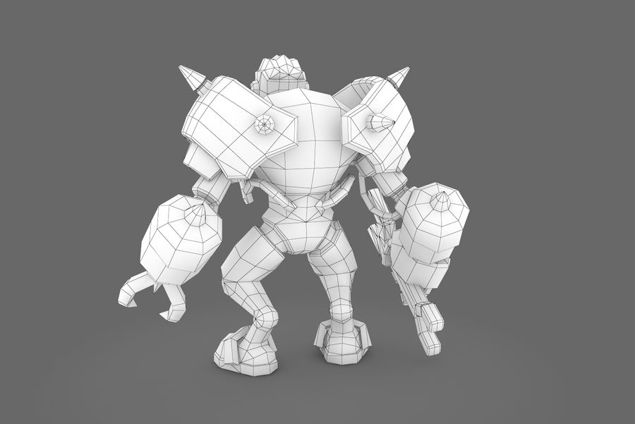 Animated Rigged Robot Type F royalty-free 3d model - Preview no. 3