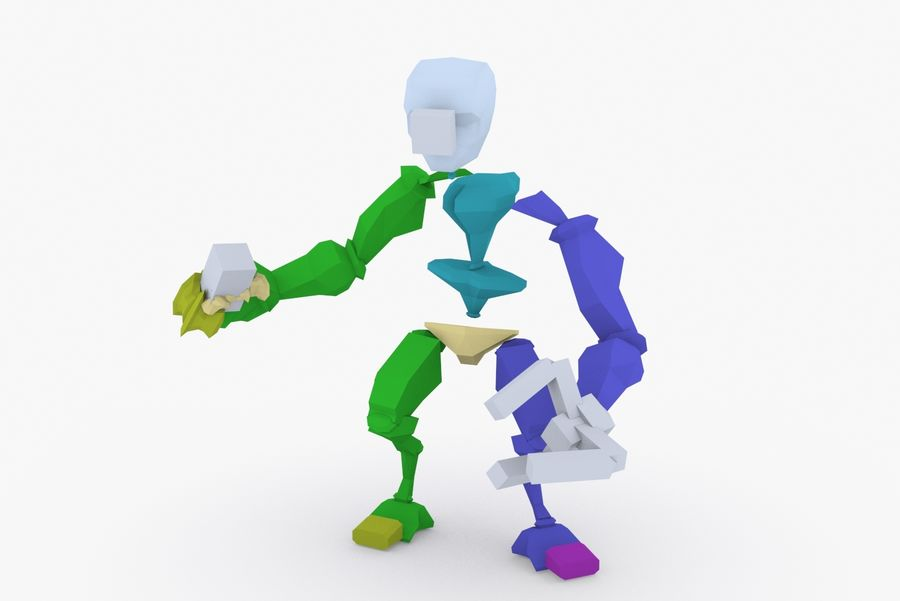 Animated Rigged Robot Type F royalty-free 3d model - Preview no. 9