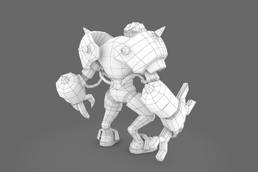 Animated Rigged Robot Type F royalty-free 3d model - Preview no. 2