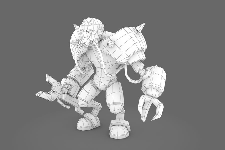 Animated Rigged Robot Type F royalty-free 3d model - Preview no. 4