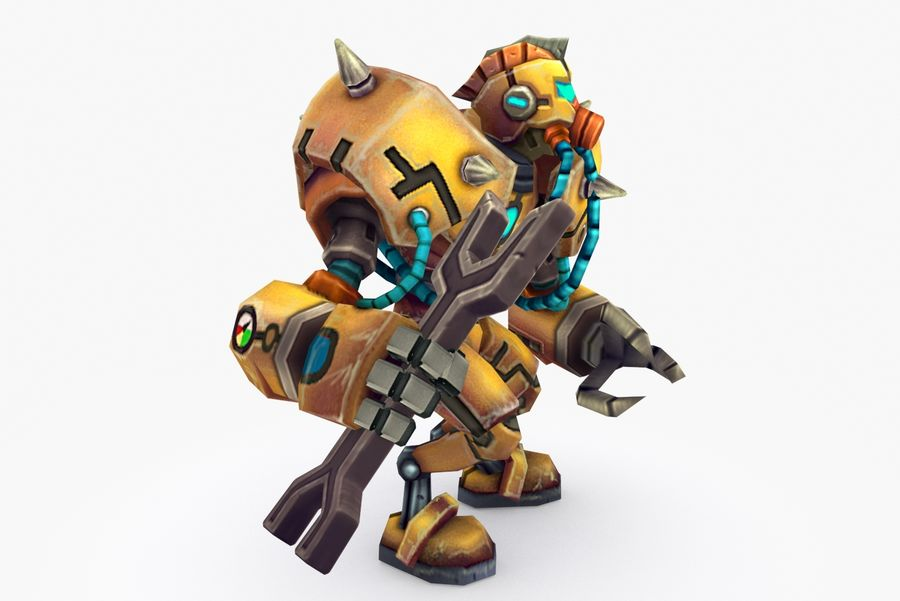 Animated Rigged Robot Type F royalty-free 3d model - Preview no. 5