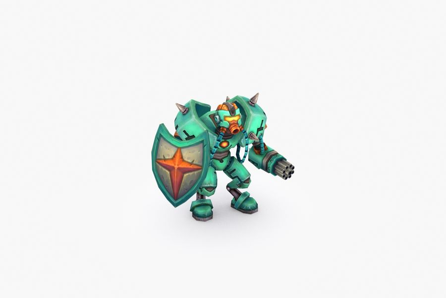 Animated Rigged Robot Type G royalty-free 3d model - Preview no. 6