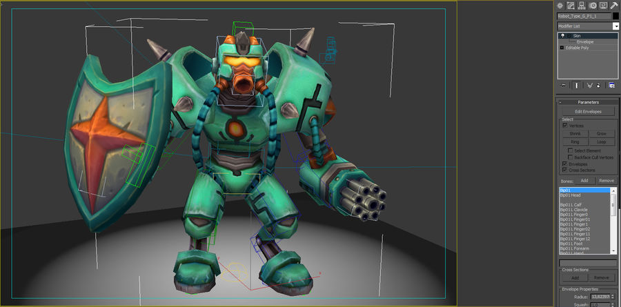 Animated Rigged Robot Type G royalty-free 3d model - Preview no. 7