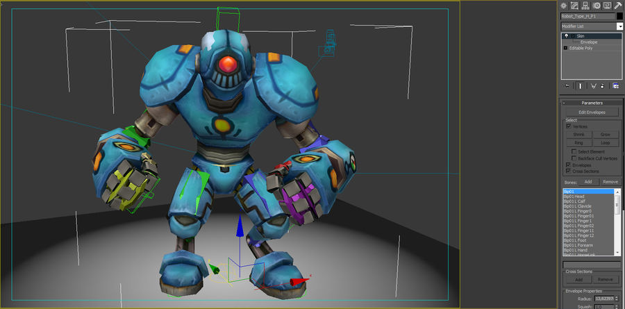 Animated Rigged Robot Type H royalty-free 3d model - Preview no. 7