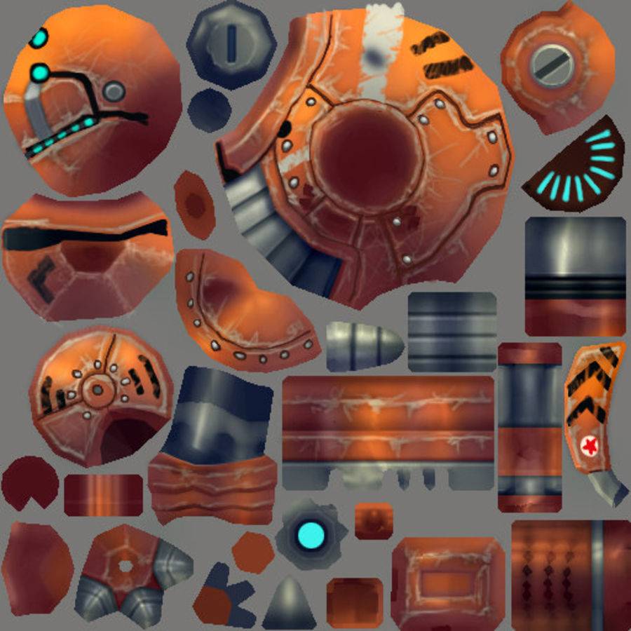 Animated Rigged Robot Type I royalty-free 3d model - Preview no. 6