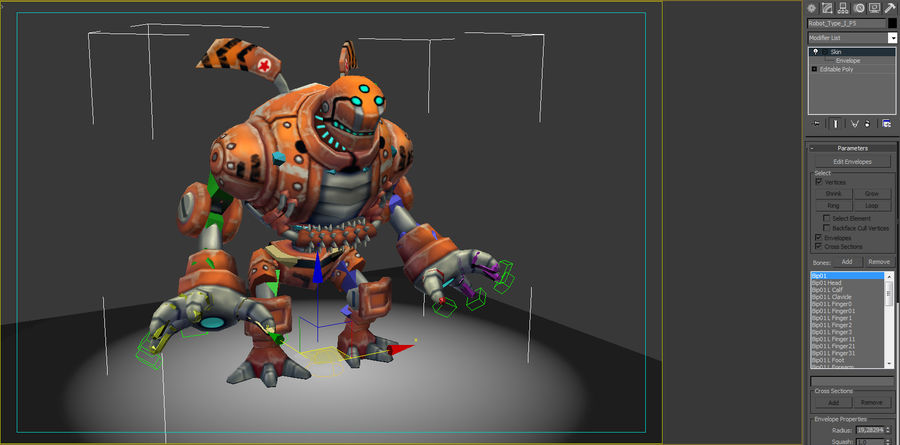 Animated Rigged Robot Type I royalty-free 3d model - Preview no. 8