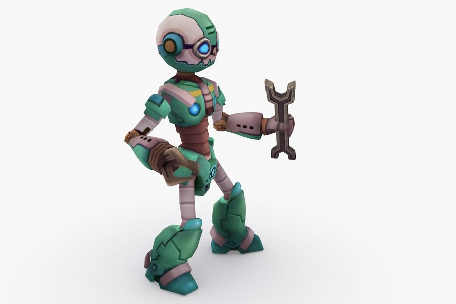 Animated Rigged Robot Type K royalty-free 3d model - Preview no. 5