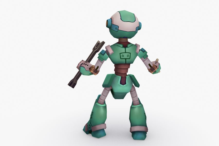 Animated Rigged Robot Type K royalty-free 3d model - Preview no. 4