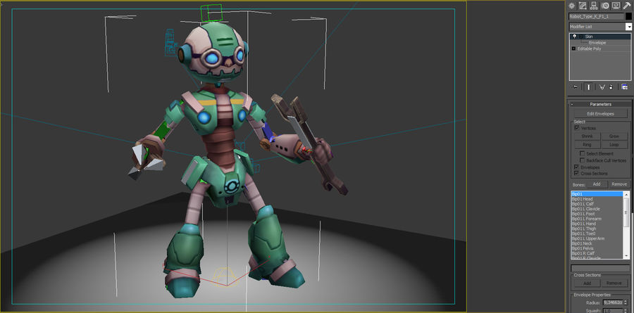 Animated Rigged Robot Type K royalty-free 3d model - Preview no. 7