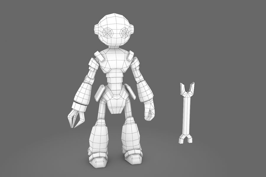 Animated Rigged Robot Type K royalty-free 3d model - Preview no. 10