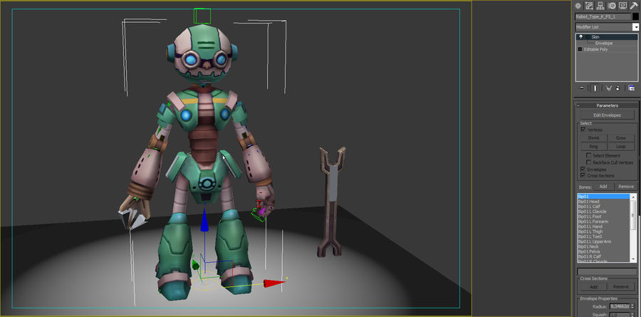 Animated Rigged Robot Type K royalty-free 3d model - Preview no. 8