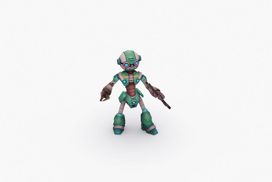 Animated Rigged Robot Type K royalty-free 3d model - Preview no. 6