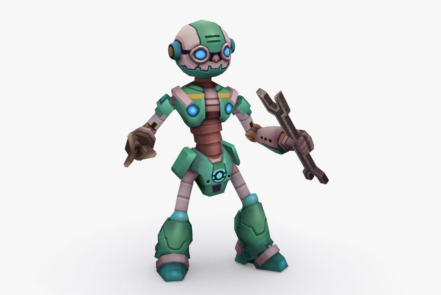 Animated Rigged Robot Type K royalty-free 3d model - Preview no. 2