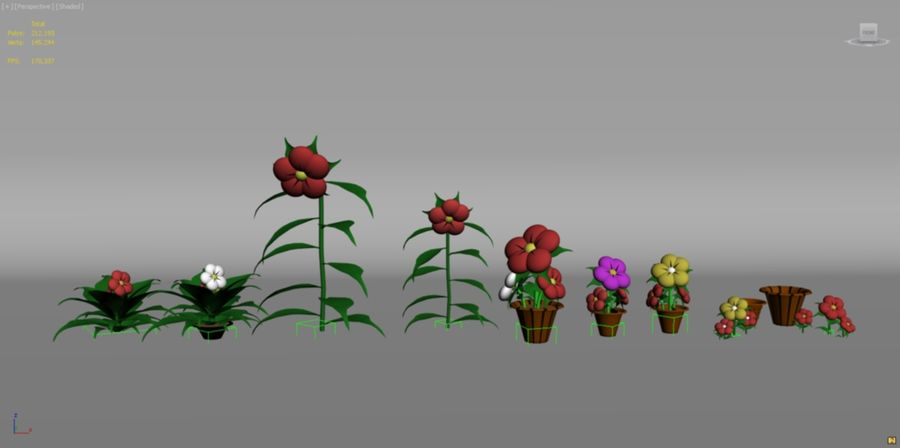 toon flower and flowerpot royalty-free 3d model - Preview no. 11