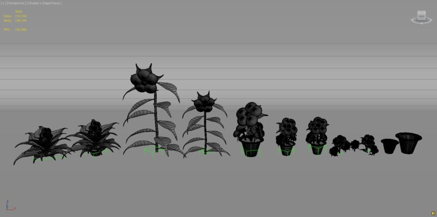 toon flower and flowerpot royalty-free 3d model - Preview no. 10