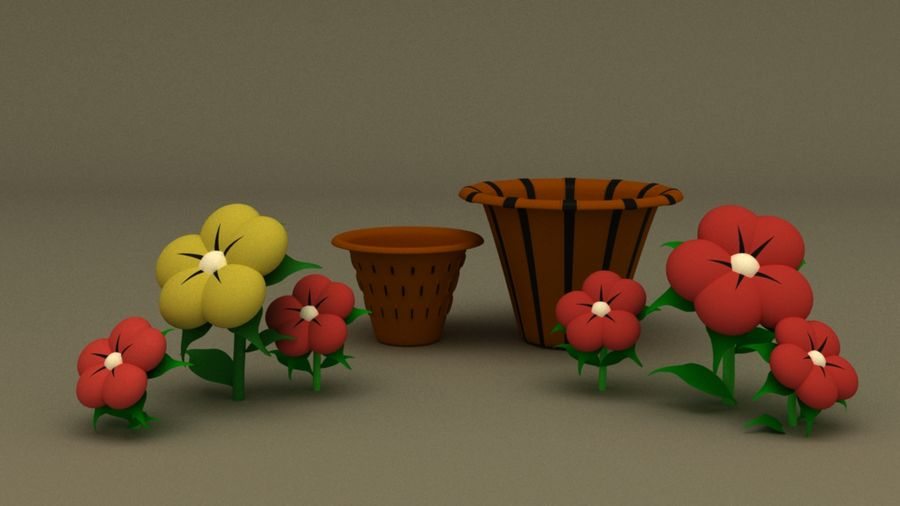 toon flower and flowerpot royalty-free 3d model - Preview no. 6