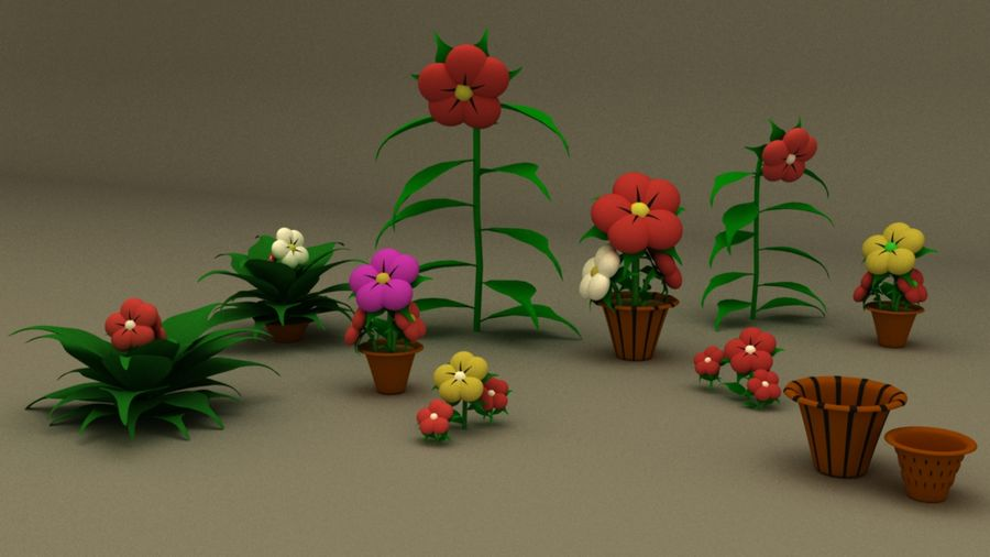 toon flower and flowerpot royalty-free 3d model - Preview no. 1