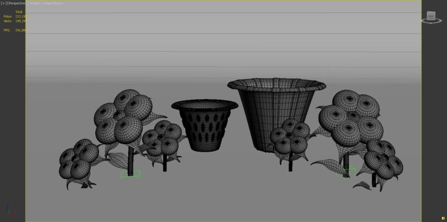 toon flower and flowerpot royalty-free 3d model - Preview no. 7