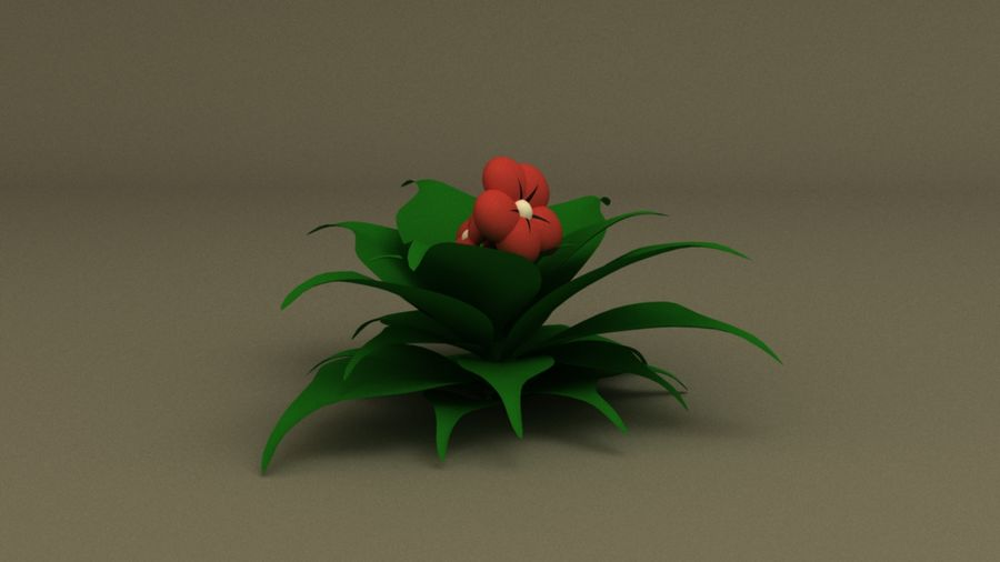 toon flower and flowerpot royalty-free 3d model - Preview no. 3